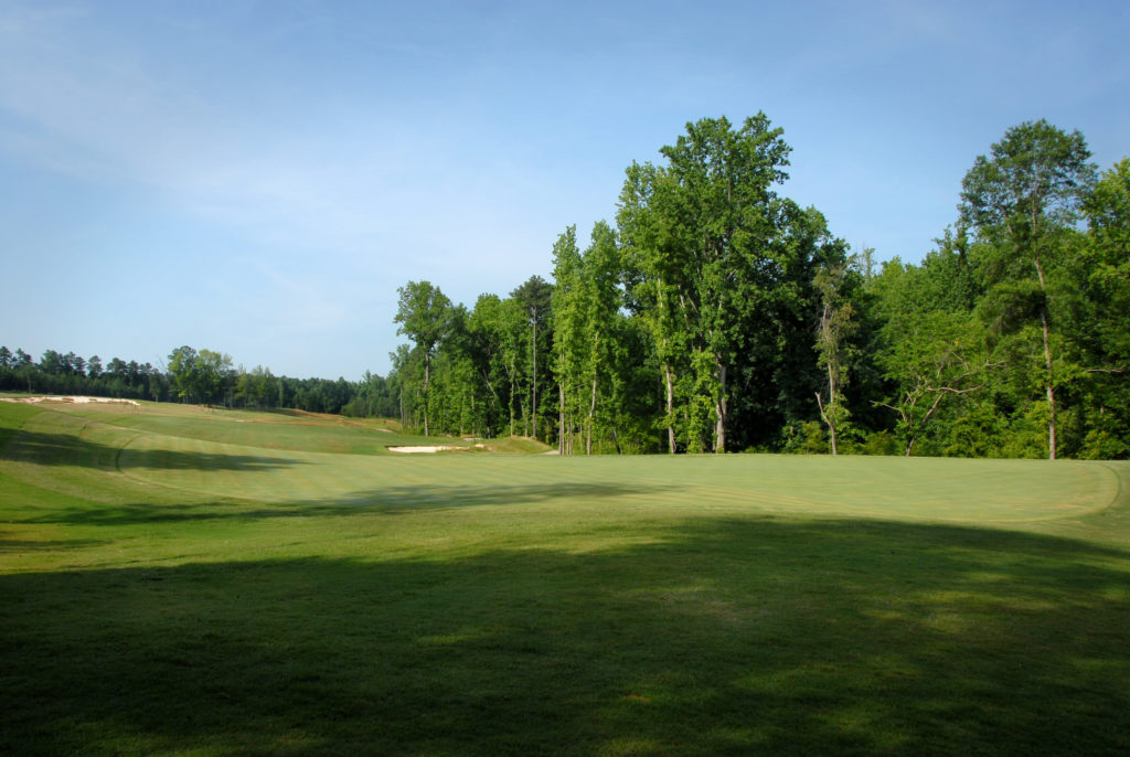 A green and fairway at Lonnie Poole Golf Course.
