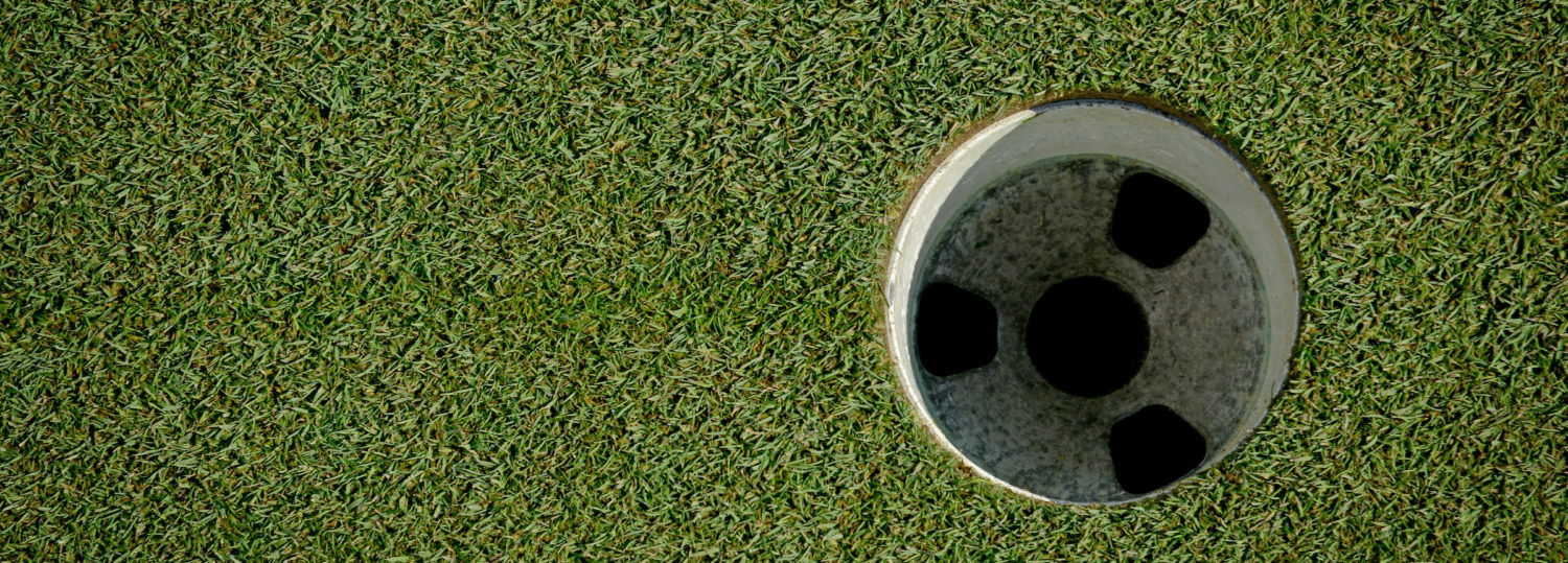 Close-up of a hole at Lonnie Poole Golf Course.