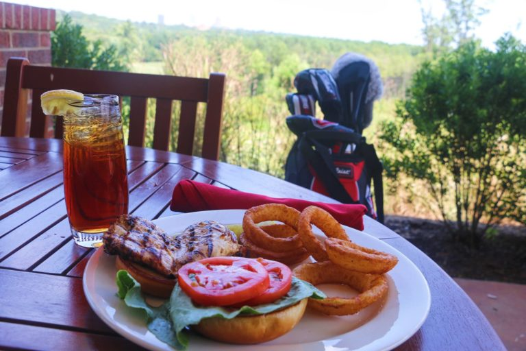 A burger and onion rings at the Terrace Dining Room.