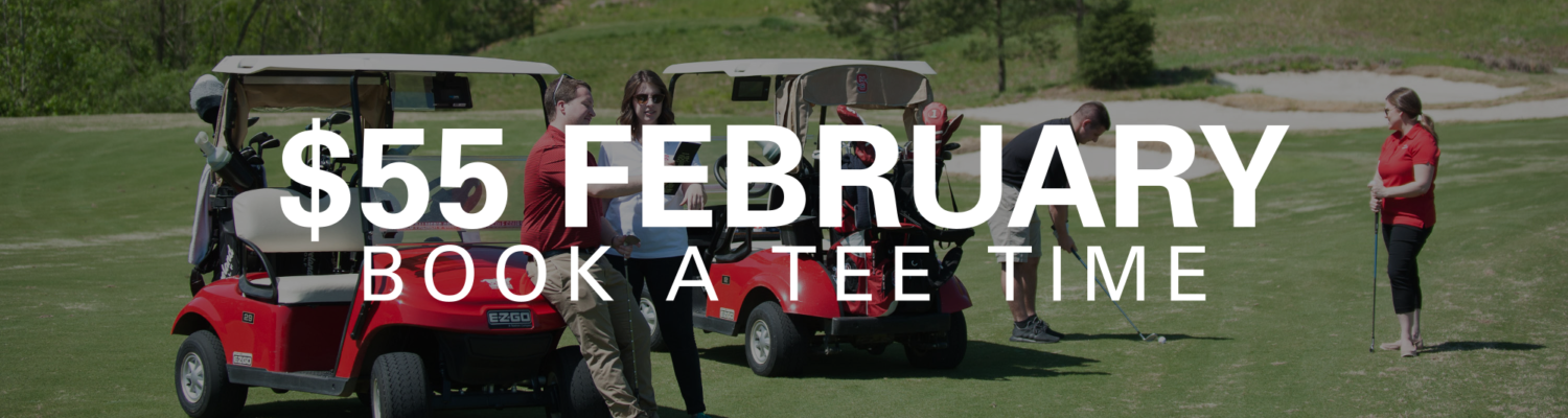 Golfers in front of a golfcart. Text reads $55 February Book a Tee Time